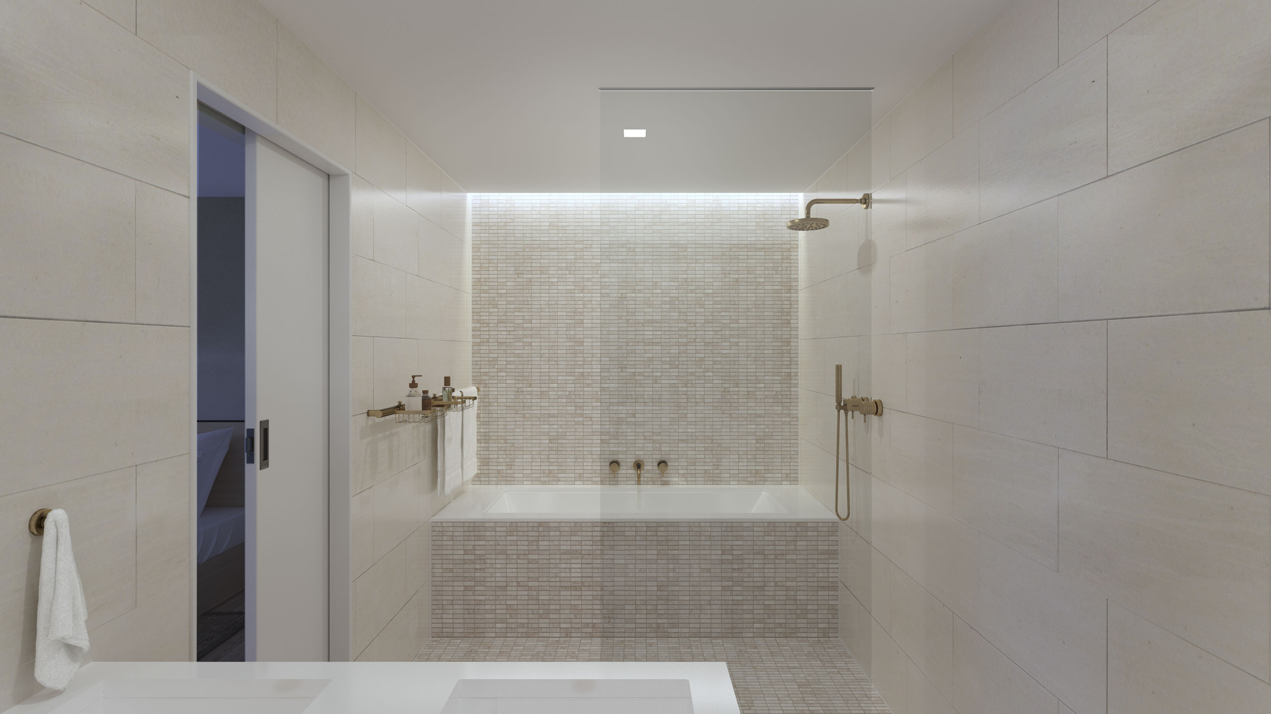 Master Baths, Second Baths, and Powder Rooms are all detailed with stylish European-inflected fixtures and finishes.